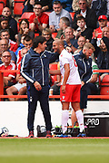 Nottingham Forest manager Aitor Karanka chats with Nottingham Forest midfielder Adlene Guedioura (8) during the Pre-Season Friendly match between Nottingham Forest and Bournemouth at the City Ground, Nottingham, England on 28 July 2018. Picture by Jon Hobley.