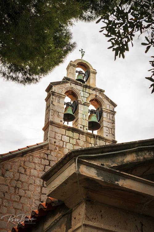 The bell tower at St Stephen Church, Zaton, Dalmatian Coast, Croatia