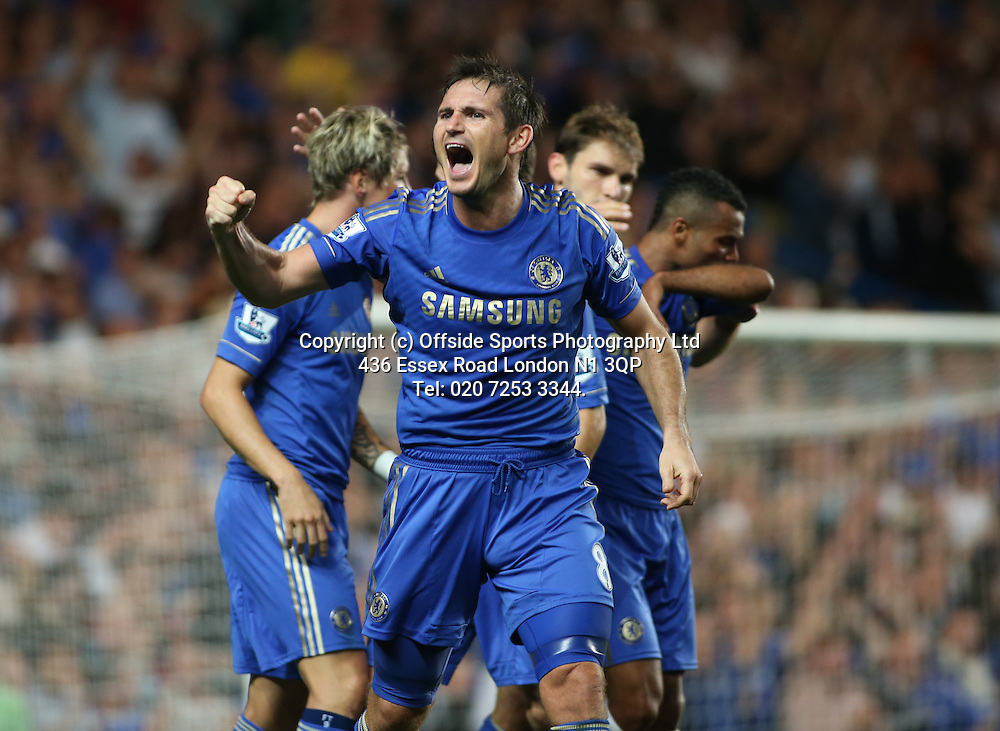 22 August 2012 Premier League football. Chelsea v Reading.<br /> Frank Lampard celebrates the Chelsea victory.<br /> Photo: Mark Leech.