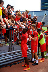 ANN ARBOR, USA - Friday, July 27, 2018: Liverpool's Sadio Mane and Nathaniel Phillips sign autographs for supporters after a training session ahead of the preseason International Champions Cup match between Manchester United FC and Liverpool FC at the Michigan Stadium. (Pic by David Rawcliffe/Propaganda)
