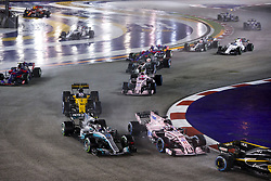September 17, 2017 - Singapore, Singapore - Motorsports: FIA Formula One World Championship 2017, Grand Prix of Singapore, ..#77 Valtteri Bottas (FIN, Mercedes AMG Petronas F1 Team), #11 Sergio Perez (MEX, Sahara Force India F1 Team), #30 Jolyon Palmer (GBR, Renault Sport F1 Team), #31 Esteban Ocon (FRA, Sahara Force India F1 Team) (Credit Image: © Hoch Zwei via ZUMA Wire)