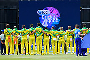 Australian players stand together for their national anthem during the ICC Cricket World Cup 2019 match between Afghanistan and Australia at the Bristol County Ground, Bristol, United Kingdom on 1 June 2019.