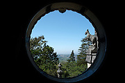 View from a window in the main palace at Quinta da Regaleira, an estate, near Sintra, Portugal, and a UNESCO World Heritage Site.