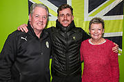 Forest Green Rovers Elliott Frear(17) with his kit sponsor during the EFL Sky Bet League 2 match between Forest Green Rovers and Carlisle United at the New Lawn, Forest Green, United Kingdom on 28 January 2020.
