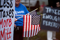 Supporters gathered at Rollins Park in Concord Sunday evening as the Tea Party Express tour rolled through.  (Karen Bobotas/for the Concord Monitor)