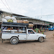 A truck brings in fresh supplies to the fish and flower market in Mandalay, Myanmar (Burma).