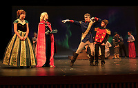 "Anna (Camryn Marshall) and Elsa (Avery Hennig) get a preview of Wesselton's (Logan Grant) dance moves with Wesselton's Guard (Connor Brough) during dress rehearsal for ""Frozen"" with Gilford Middle School on Wednesday afternoon.  (Karen Bobotas/for the Laconia Daily Sun)"