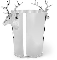 """August 4, 2017 - inconnu - This cool-looking champagne ice-bucket comes with a price tag that is a bit too hot for most people -- €18.000 Euros / $21,375 USD / £16,265 GBP.The sterling silver bucket created by jeweller Asprey of London, is made of sterling silver and features two detailed stag heads as the handles.It is available from online luxury store Mr Porter.A spokesman said :"""" The stag has never looked nobler than on this champagne cooler, sculpted in Asprey sterling silver and watching over your prized vintage brut. """"This design speaks to the brand's generations of expertise. """"The cooler is made in London using a traditional copper wheel engraving technique.The 30 cm high container is polished to what the store calls """" gleaming perfection"""" while the handles facilitate """" an authoritative grip. """"The spokesman added:"""" Fill yours generously with ice and plonk in your poison."""" # SEAU A CHAMPAGNE DE LUXE (Credit Image: © Visual via ZUMA Press)"""