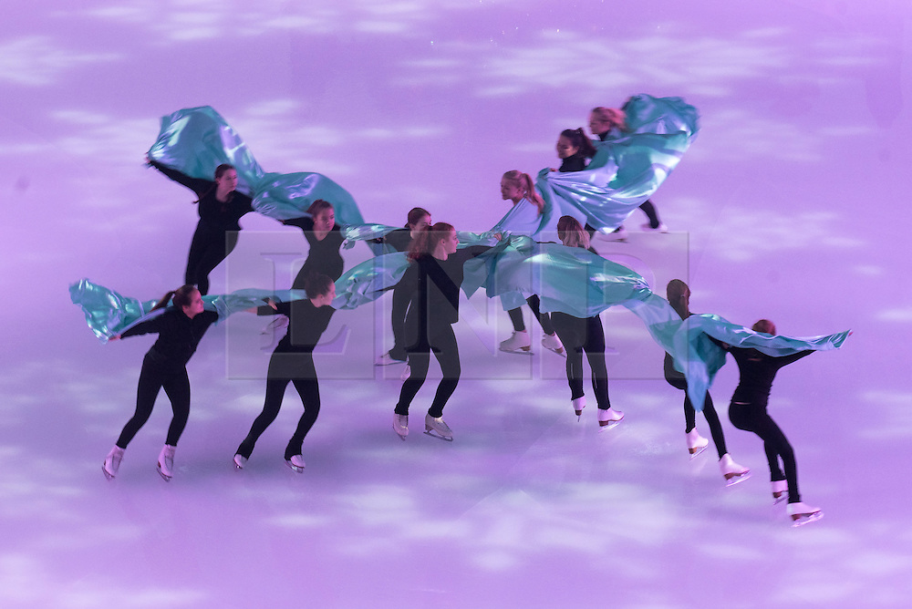 © Licensed to London News Pictures. 14/12/2016. Team of 12 Synchronised Skaters in formation on the ice rink launch Skate  Somerset House with Fortnum & Mason. London, UK. Photo credit: Ray Tang/LNP