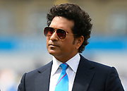 Sachin Tendulkar doing a tv interview during the interval during the ICC Cricket World Cup 2019 match between England and India at Edgbaston, Birmingham, United Kingdom on 30 June 2019.