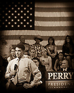 Presidential hopeful, Texas Governor Rick Perry speaks at a Town Hall meeting at the Adams Memorial Opera House in Derry, New Hampshire. 30th of September 2011.