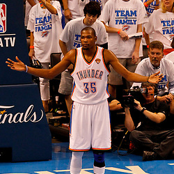 Jun 14, 2012; Oklahoma City, OK, USA; Oklahoma City Thunder small forward Kevin Durant (35) against the Miami Heat during the third quarter of game two in the 2012 NBA Finals at Chesapeake Energy Arena. Mandatory Credit: Derick E. Hingle-US PRESSWIRE