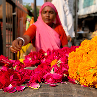 Woman selling flowers on a street market of Udaipur