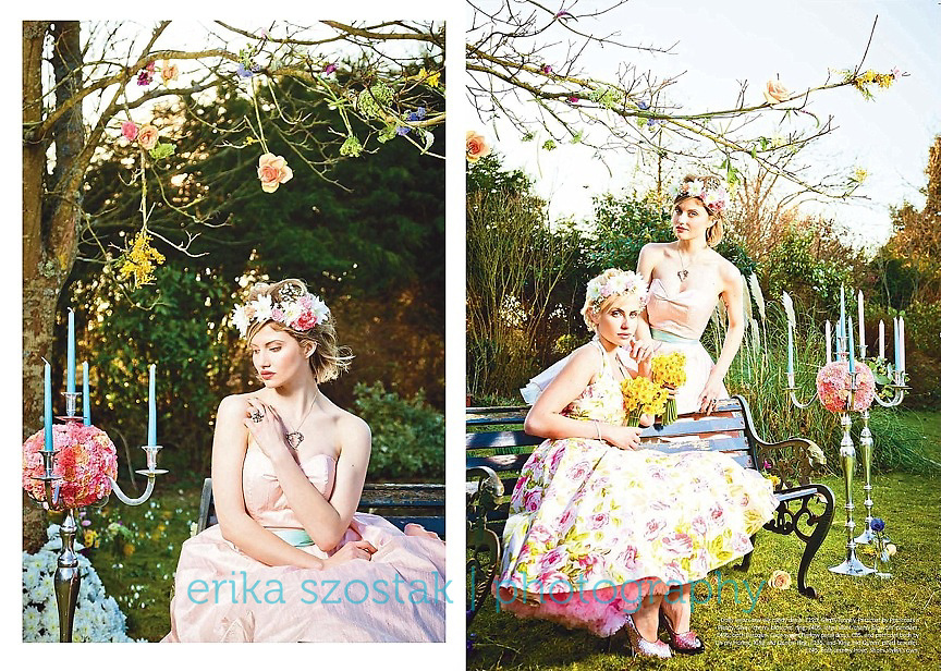 Publication: Absolute Brighton magazine, April 2013<br /> Photography: Erika Szostak<br /> Production: Erika Szostak &amp; Louise O&rsquo;Mahony (Oh My Honey)<br /> Styling:  Louise O&rsquo;Mahony &amp; Kate Morton (Absolute Brighton)<br /> Makeup: Cornelia Page<br /> Hair: Susan Bond<br /> Floral Styling: Wookie Floral Design Ltd.<br /> Dresses: Oh My Honey<br /> Shoes: Irregular Choice<br /> Jewellery: Baroque &amp; Jeremy Hoye<br /> Photography Assistant: Mark Liddell<br /> Models: Catie Greener &amp; Dolly Diamond