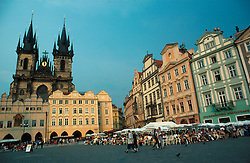 CZECH REPUBLIC PRAGUE JUL96 - General view of Prague's famous Old Town Sqaure with the Tyn Cathedral in the background. . . jre/Photo by Jiri Rezac. . © Jiri Rezac 1996. . Tel:   +44 (0) 7050 110 417. Email: jiri@jirirezac.com. Web:   www.jirirezac.com