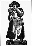 Female pedlar selling printed ballads in the street. 17th century London.