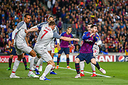 Barcelona forward Lionel Messi (10) claims handball during the Champions League semi-final leg 1 of 2 match between Barcelona and Liverpool at Camp Nou, Barcelona, Spain on 1 May 2019.
