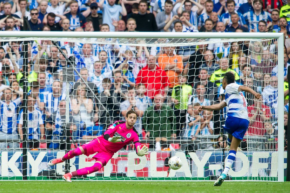 Danny Ward of Huddersfield Town saves the penalty shot by Jordan Obita of Reading during the EFL Sky Bet Championship Play-Off Final match between Huddersfield Town and Reading at Wembley Stadium, London, England on 29 May 2017. Photo by Salvio Calabrese.