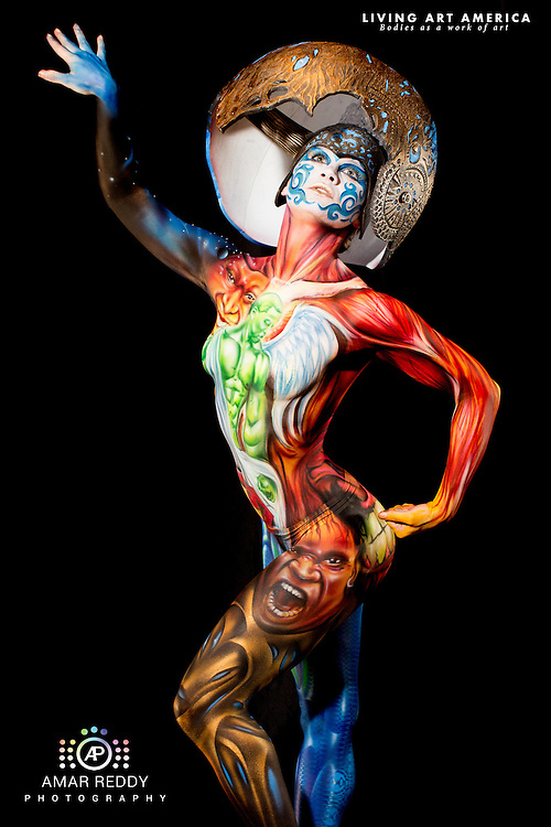 Living Art America::The Bodies Works of Art::The North American Body Painting Championship | A World Body-painting Association Sanctioned Event <br /> <br /> Artist: Alex Hansen, <br /> Model:&nbsp;Erica Grace,<br /> Photographer: Amar Reddy<br /> <br /> www.livingartamerica.com<br /> www.AmarPhotography.com