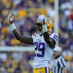 Sep 23, 2017; Baton Rouge, LA, USA; LSU Tigers cornerback Andraez Williams (29) during the first quarter of a game against the Syracuse Orange at Tiger Stadium. Mandatory Credit: Derick E. Hingle-USA TODAY Sports