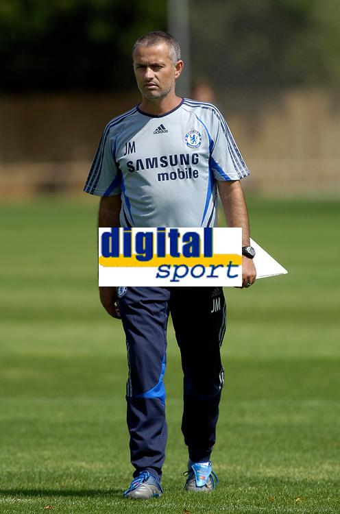 Photo: Daniel Hambury.<br />Chelsea Training Session. The Barclays Premiership. 24/07/2006.<br />Jose Mourinho during training.