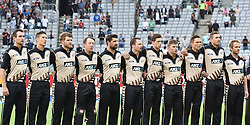 February 17, 2017 - Auckland, New Zealand - New Zealand anthem during international Twenty20 cricket match between South Africa and New Zealand in Auckland, New Zealand on Feb 17. (Credit Image: © Shirley Kwok/Pacific Press via ZUMA Wire)