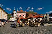 Church, market place and open-air restaurant. Waldsassen. Bavaria. Germany.