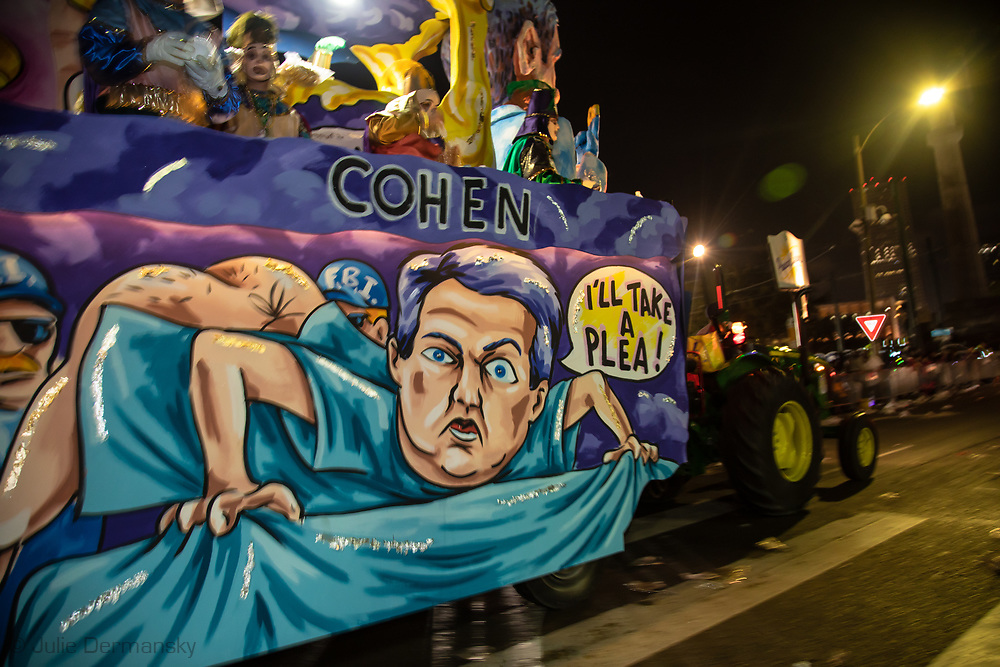 Michael Cohen on a Robert Muller float in the Krewe d'Etat parade in New Orleans during the 2019 Mardis Gras season.