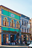 Building architecture on Lower Johnson Street in Victoria, BC reflects the city's English heritage