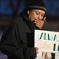 Franklin J. Whiting Jr. pauses after a Take Back the Site for Non-Violence prayer service in memory of his friend and neighbor, Jamie Lee Wounded Arrow on Wednesday evening.