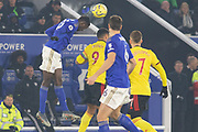Wilfred Ndidi (25) heads clear during the Premier League match between Leicester City and Watford at the King Power Stadium, Leicester, England on 4 December 2019.