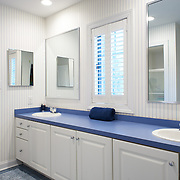 CHERRY HILL, NJ - DECEMBER 23, 2016: The second bathroom on the second floor has a double vanity and sits between the front and middle front bedrooms. 9 Gwen Court, Cherry Hill, NJ. Credit: Albert Yee for the New York Times