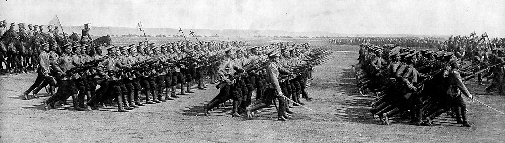 Russian soldiers parade on their way to the war at the outbreak of the First World War in 1914