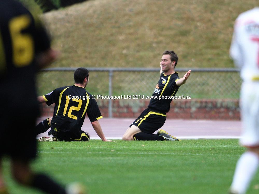 Wellington's Andy Barron celebrates his goal with Bryan Little.<br /> NZFC soccer  - Team Wellington v Waitakere United at Newtown Park, Wellington. Sunday, 4 April 2010. Photo: Dave Lintott/PHOTOSPORT