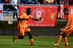 LENDAVA, SLOVENIA - Tuesday, October 17, 2017: Liverpool's Bobby Adekanye celebrates scoring the first equalising goal during the UEFA Youth League Group E match between NK Maribor and Liverpool at Športni Park. (Pic by David Rawcliffe/Propaganda)