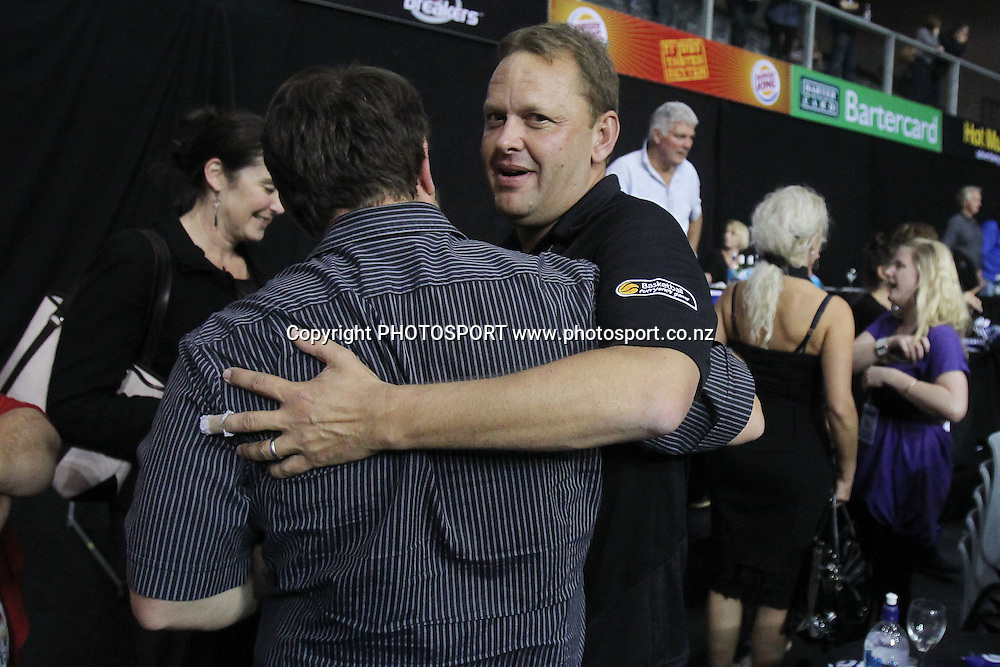 Breakers' owner Paul Blackwell is congratulated. iinet ANBL, Semi-Final Game 3, New Zealand Breakers vs Perth Wildcats, North Shore Events Centre, Auckland, New Zealand. Wednesday 13th April 2011. Photo: Anthony Au-Yeung / photosport.co.nz