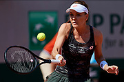 Paris, France - 2017 June 01: Agnieszka Radwanska from Poland plays a forehand during her women's single match second round during tennis Grand Slam tournament The French Open 2017 (also called Roland Garros) at Stade Roland Garros on June 01, 2017 in Paris, France.<br /> <br /> Mandatory credit:<br /> Photo by &copy; Adam Nurkiewicz<br /> <br /> Adam Nurkiewicz declares that he has no rights to the image of people at the photographs of his authorship.<br /> <br /> Picture also available in RAW (NEF) or TIFF format on special request.<br /> <br /> Any editorial, commercial or promotional use requires written permission from the author of image.