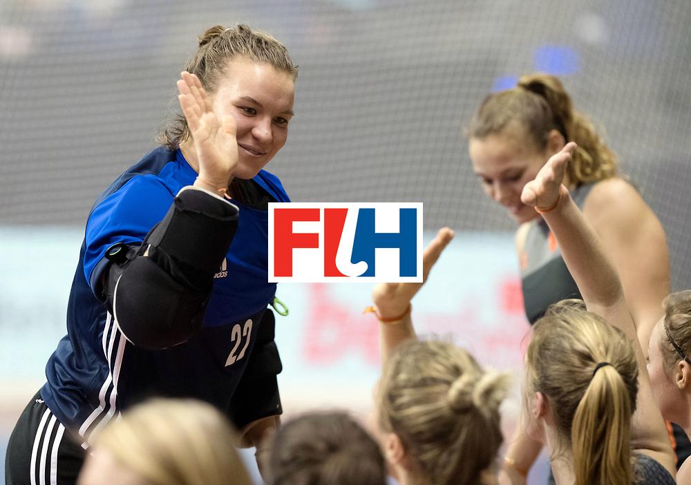 BERLIN - Indoor Hockey World Cup<br /> SF1 Netherlands - Ukraine<br /> foto: Karlijn Adank (GK)   <br /> WORLDSPORTPICS COPYRIGHT FRANK UIJLENBROEK