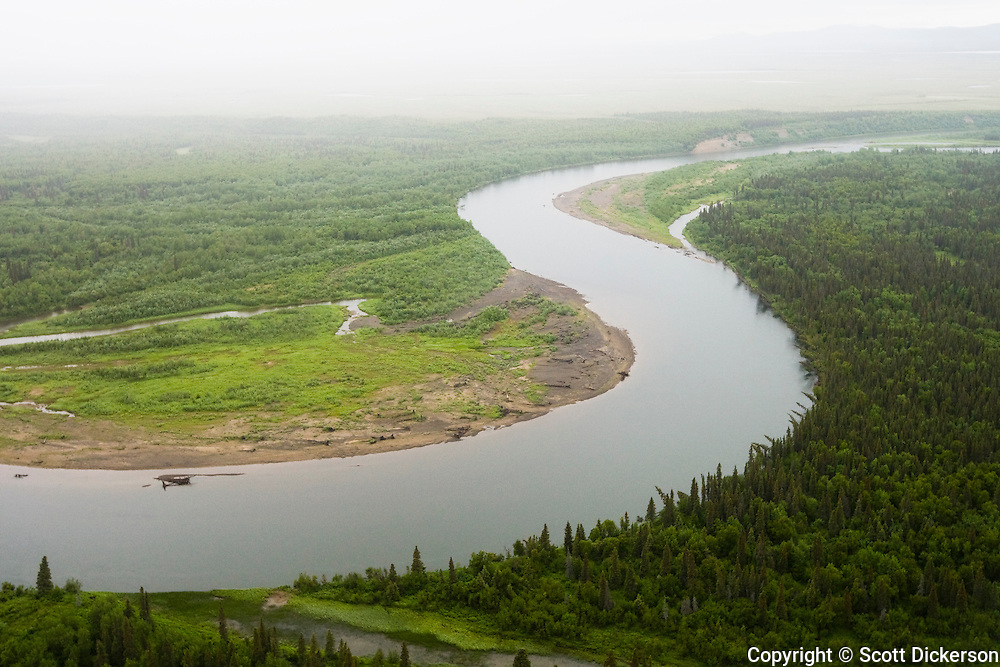 The Mulchatna River winding through the trees and tundra of Bristol Bay, Alaska.
