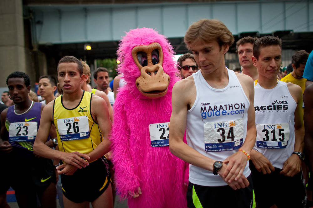 Elite men runners and Tommy the Pink Gorilla, anticipates for the race to begin at the starting line.