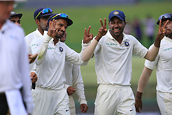 August 13, 2017 - Colombo, Sri Lanka - Indian cricketers Shikhar Dhawan and Hardik Pandya walk back to the pavilion after the play ended during the 2nd Day's play in the 3rd Test match between Sri Lanka and India at the Pallekele International cricket stadium, Kandy, Sri Lanka on Sunday 13 August 2017. (Credit Image: © Tharaka Basnayaka/NurPhoto via ZUMA Press)