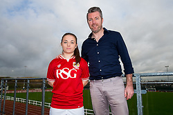 Paige Sawyer of Bristol City Women's FC poses with manager Willie Kirk - Mandatory byline: Rogan Thomson/JMP - 11/01/2016 - FOOTBALL - Stoke Gifford Stadium - Bristol, England - Bristol City Women's FC New Signings.