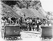 Zulu 'boys' at De Beers diamond mines. From photograph taken c1885. In 1887 and 1888 Cecil Rhodes amalgamated the diamond mines around Kimberley, which included De Beers, into Consolidated Mines