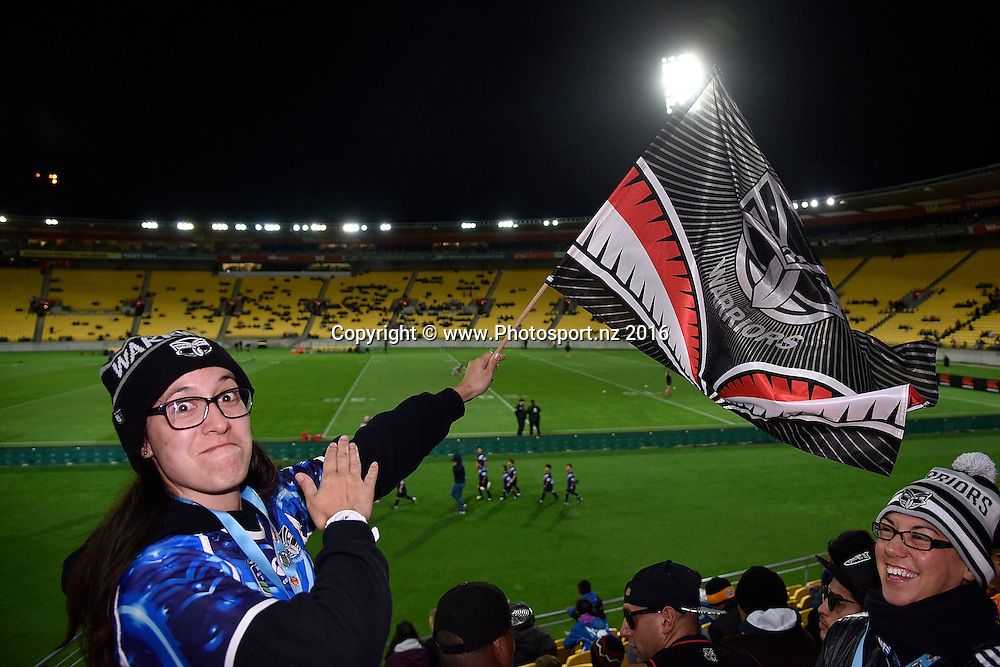 Warriors fans during the NRL Warriors vs Bulldogs Rugby League match at the Westpac Stadium in Wellington on Saturday the 16th of April 2016. Copyright Photo by Marty Melville / www.Photosport.nz