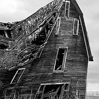 Collapsing wooden home in Rolette County USA