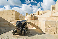 Cannon on the Gozo Citadel walls appears to be aiming at another part of the Citadel!