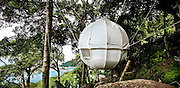 Amazing Cocoon Bed! <br /> Man goes back to nature that's today's reality ! Tree houses are successfull but they are very expensive to build, on cannot undo them. The Concept for Cocoon Tree: a very light sphere (140Kgs ) made of high density aluminium tubes, coveredy a strong canvas which can be installed in trees within 2 hours. A second « skin » made of synthetic fiber looking like bambou can be added. Inside a huge bed of 2,40m diameter, a generous space with 3 larges openings. It is the brainchild of Frenchman Berni Du Payrat, who says he was inspired to create it after looking at an ostrich egg, and costs between 3,700 euros and 11,000 euros. The Cocoon Bed is made of aluminium and weighs only 130 pounds. It is rigged up with ropes and secured by nets and can hold the weight of up to a tonne. <br /> ©Exclusivepix
