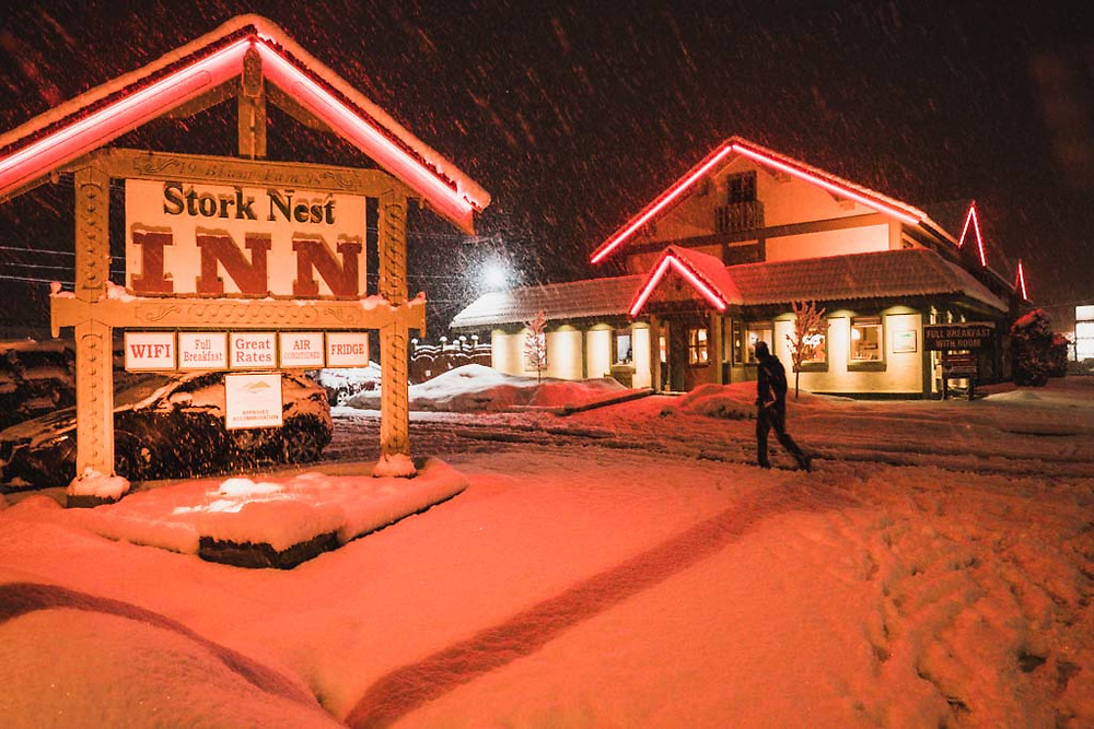 Snowing at the Stork Nest Inn, Smithers, BC.
