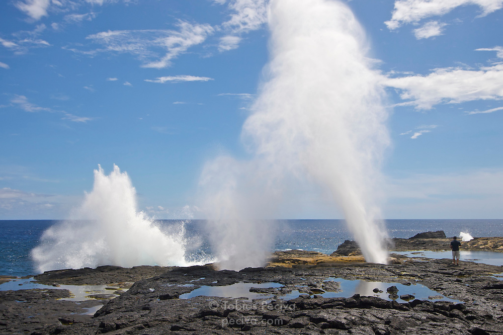 Tour guide standing next to large blowholes on the coast of Savaii, Western Samoa.