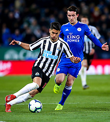 Ayoze Perez of Newcastle United takes on Ben Chilwell of Leicester City - Mandatory by-line: Robbie Stephenson/JMP - 12/04/2019 - FOOTBALL - King Power Stadium - Leicester, England - Leicester City v Newcastle United - Premier League